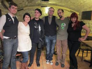 "Posing with the French Steampunks after the 2011 event ""Selena Chambers and Etienne Barillier in Paris,"" sponsored by La Libraire de L'Antre-Monde. Left to Right:  Arthur Morgan, Moi, Franck Gouraud, Etienne, Vincent Bénard (Futuravapeur), and Annliz Bonin (AnXiogène )."