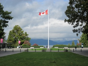 Canadian flag waving at UBC