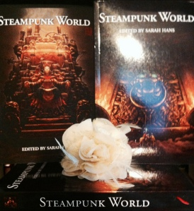 STEAMPUNK WORLD, the Kickstarter Exclusive is on right, the trade is on the left. Both covers by James Ng. Edited by Sarah Hans. Published by Alliteration Ink.
