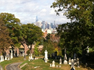 NYC skyline from a top Green-Wood Cemetery.