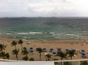View of Ft. Lauderdale Beach from the Ritz-Carlton rooftop pool deck.