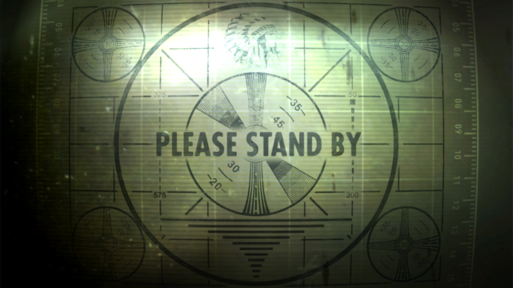Still from FALLOUT 3, found at: http://fallout.wikia.com/wiki/File:Deviantart-please-stand-by-by-gxmew.jpg